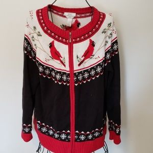 CJ Banks Cardinal Christmas Sweater/Cardigan 1X